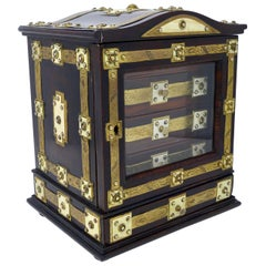 Antique English Wood Bronze and Ivory Jewelry Box, circa 1890