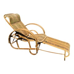 Cane Pretzel Wood and Bamboo Patio Lounge Chair Hidden Adjustable Ottoman