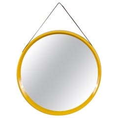 Danish Modern Yellow Circular Wall Mirror
