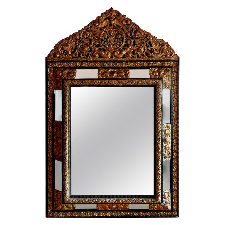 French Ebony Repousse Brass Mirror with Beveled Glass For Sale