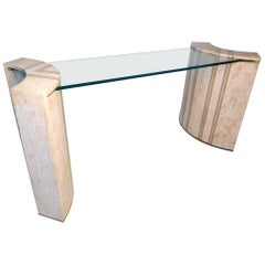 Tessellated Marble and Glass Console by Robert Marcius for Casa Bisque