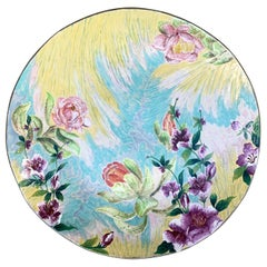 Ceramic Plate with Hand Painted Floral Designs