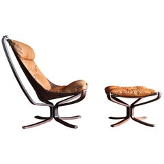 Sigurd Ressell Falcon Lounge Chair and Ottoman by Vatne Mobler, circa 1975