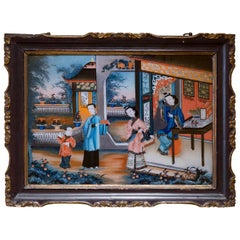 19th Century Chinoiserie Reverse Glass Picture