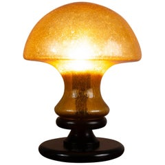 Vintage 1970s German Doria Leuchten Dark Amber Glass Mushroom Lamp