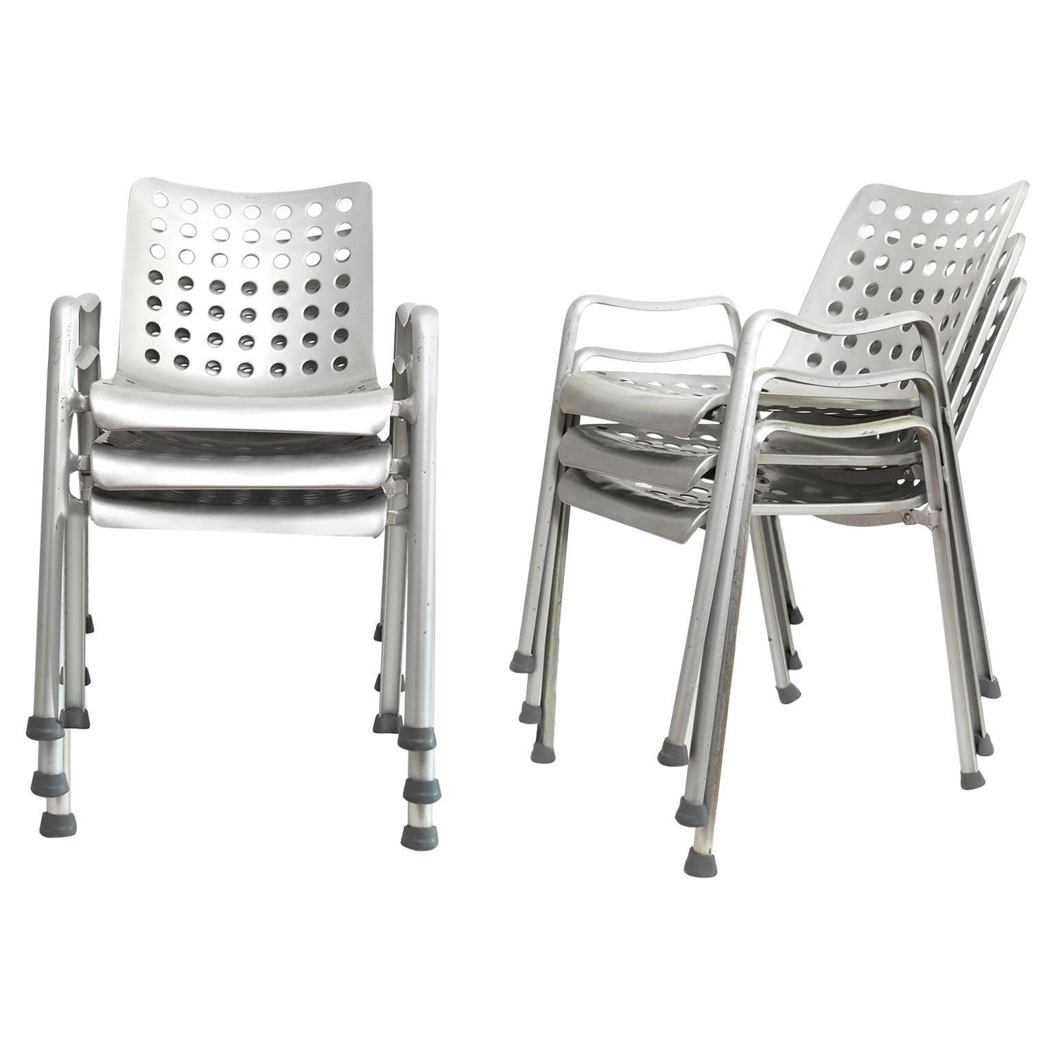 """6 Hans Coray """"Landi"""" Chairs Made by MEWA, Switzerland, 91 Holes"""