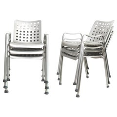 "6 Hans Coray ""Landi"" Chairs Made by MEWA, Switzerland, 91 Holes"