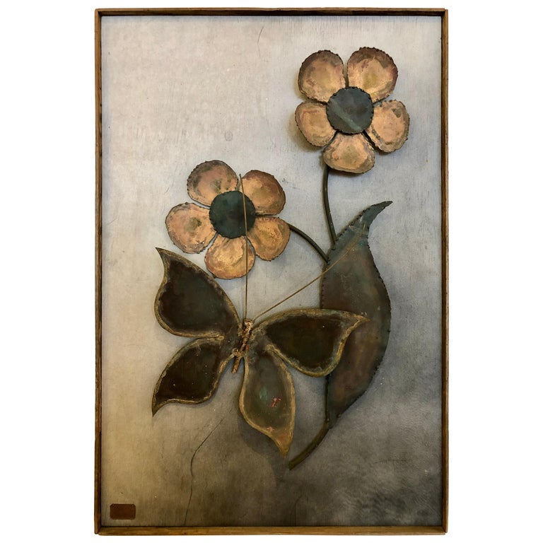 Mid-Century Modern Alex Kovacs Patinated Brass Wall Art Sculpture 1972 Signed For Sale