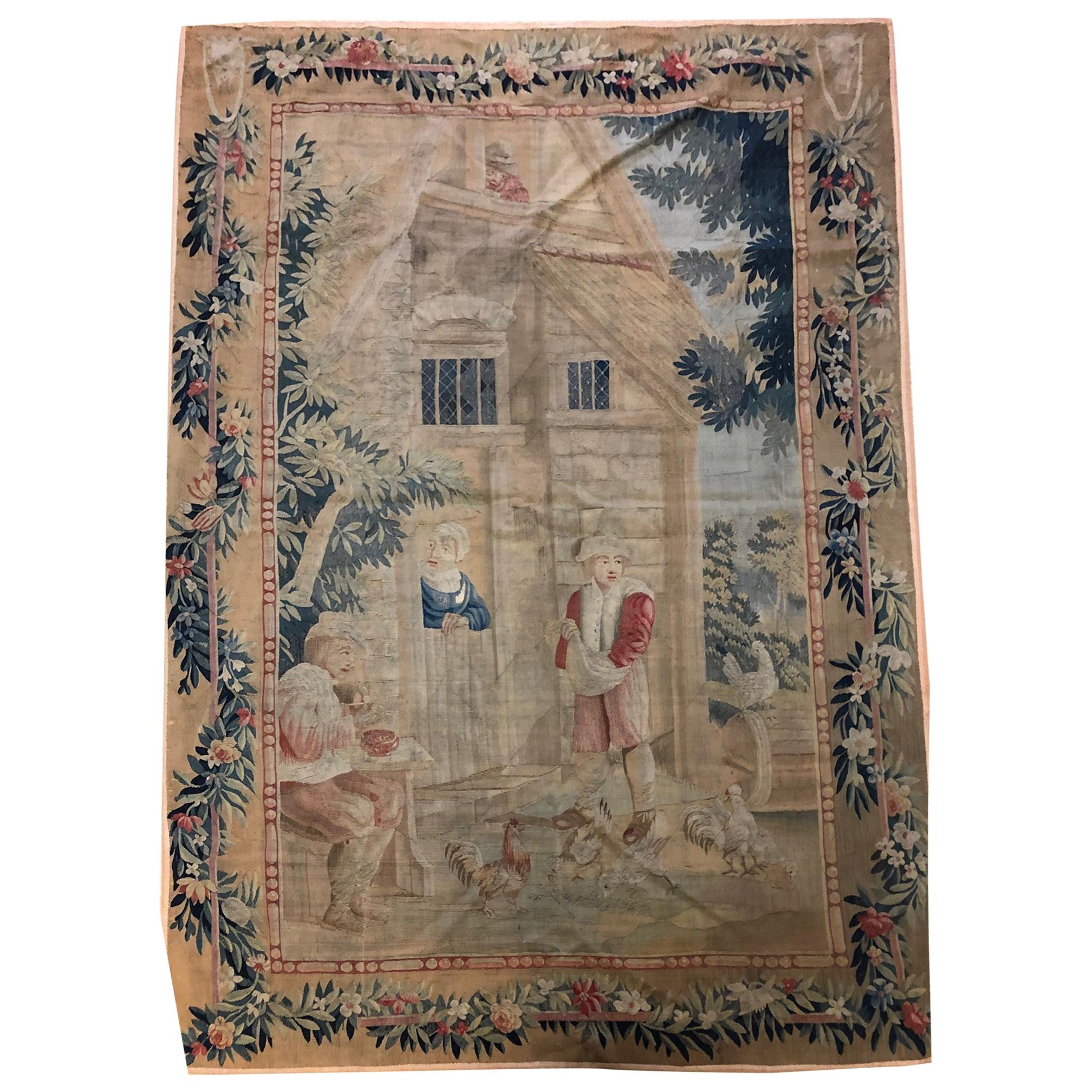 Flemish Tapestry 18th Century with Complete Border