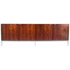 Florence Knoll Rosewood Credenza with Calacatta Marble Top