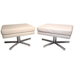 Pair of Midcentury Swiveling Ottomans