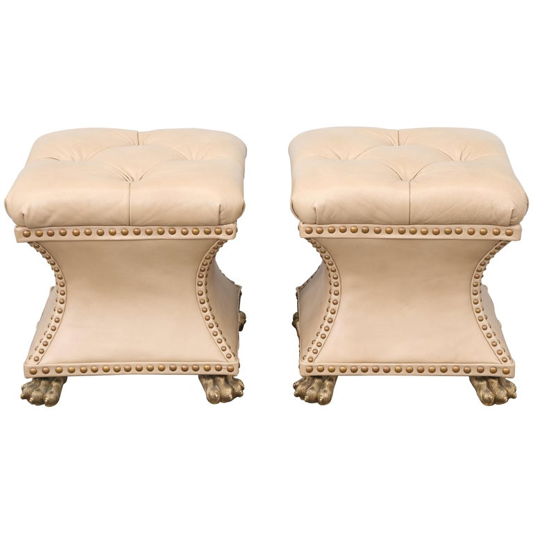 Pair of Tufted Leather Ottomans For Sale