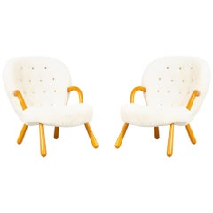Pair of Philip Arctander Clam Chairs Freshly Reupholstered in Shearling