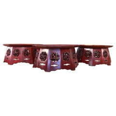 3 Meiji Period Red Lacquer Octagon Low Tables or Plant Stands