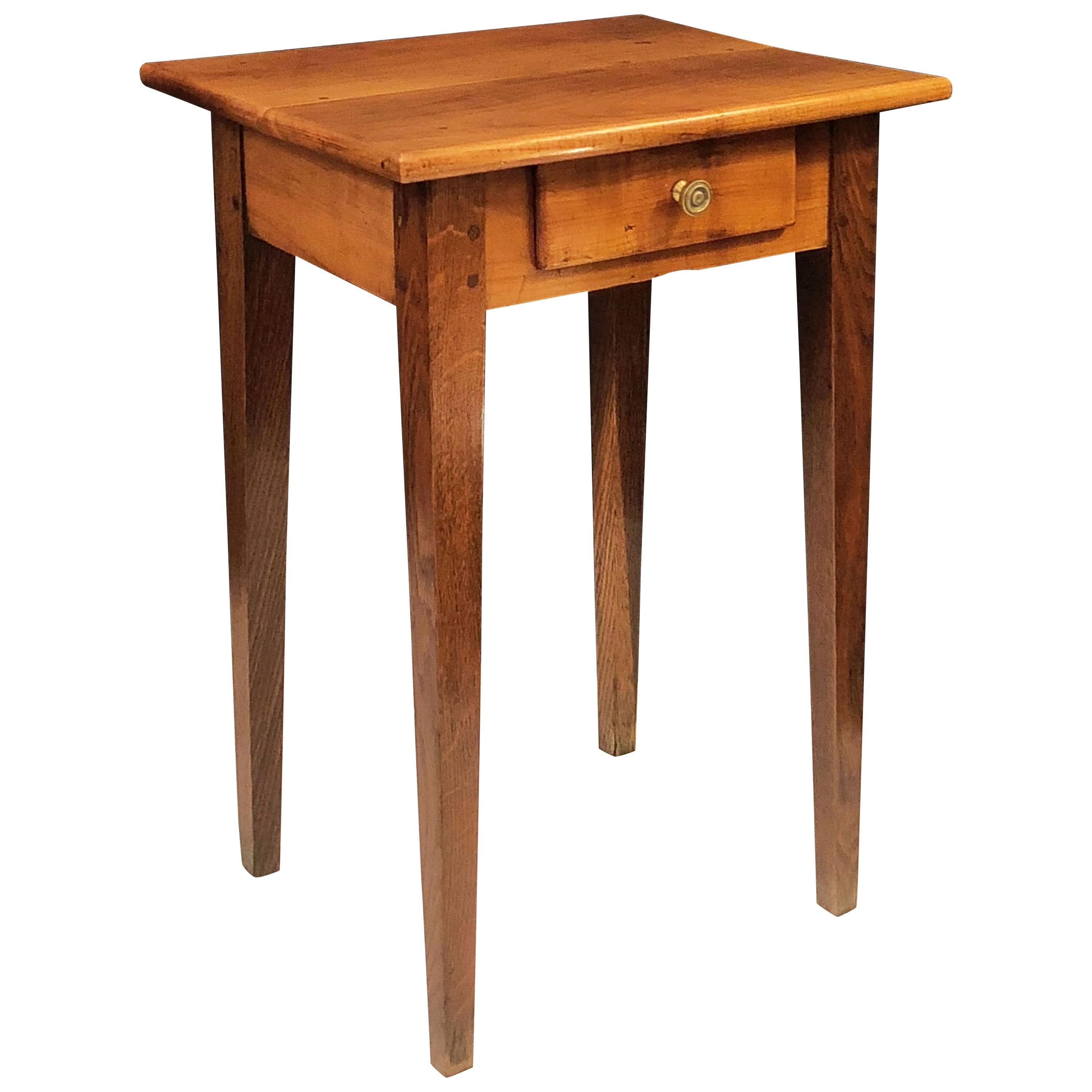 French Side or End Table of Cherry and Oak with Drawer