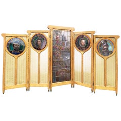 Arts & Crafts Stained Glass and Silk 5-Panel Screen in Walnut, Art Nouveau Glass
