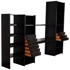 Post-modern Ligne Roset Ebonized Minimal Wall Unit, Shelves, Drawer, desk France
