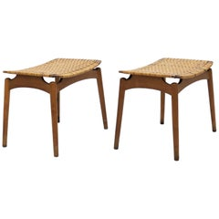 Pair of Scandinavian Modern Stools in Oak and Cane by Olholm Denmark, 1950s