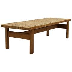 Børge Mogensen Mid-Century Modern Bench/Table in Oak and Cane, Model 5272