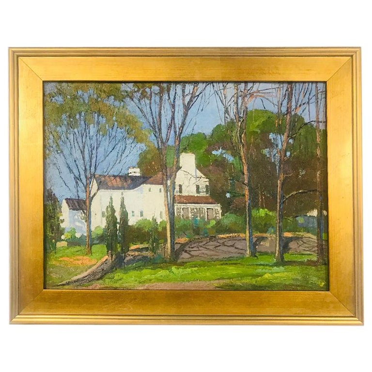 Anthony Thieme Rockport Artist Oil on Board of White House For Sale