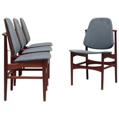 Set of Four Teak Dining Chairs by Arne Vodder for France & Daverkosen