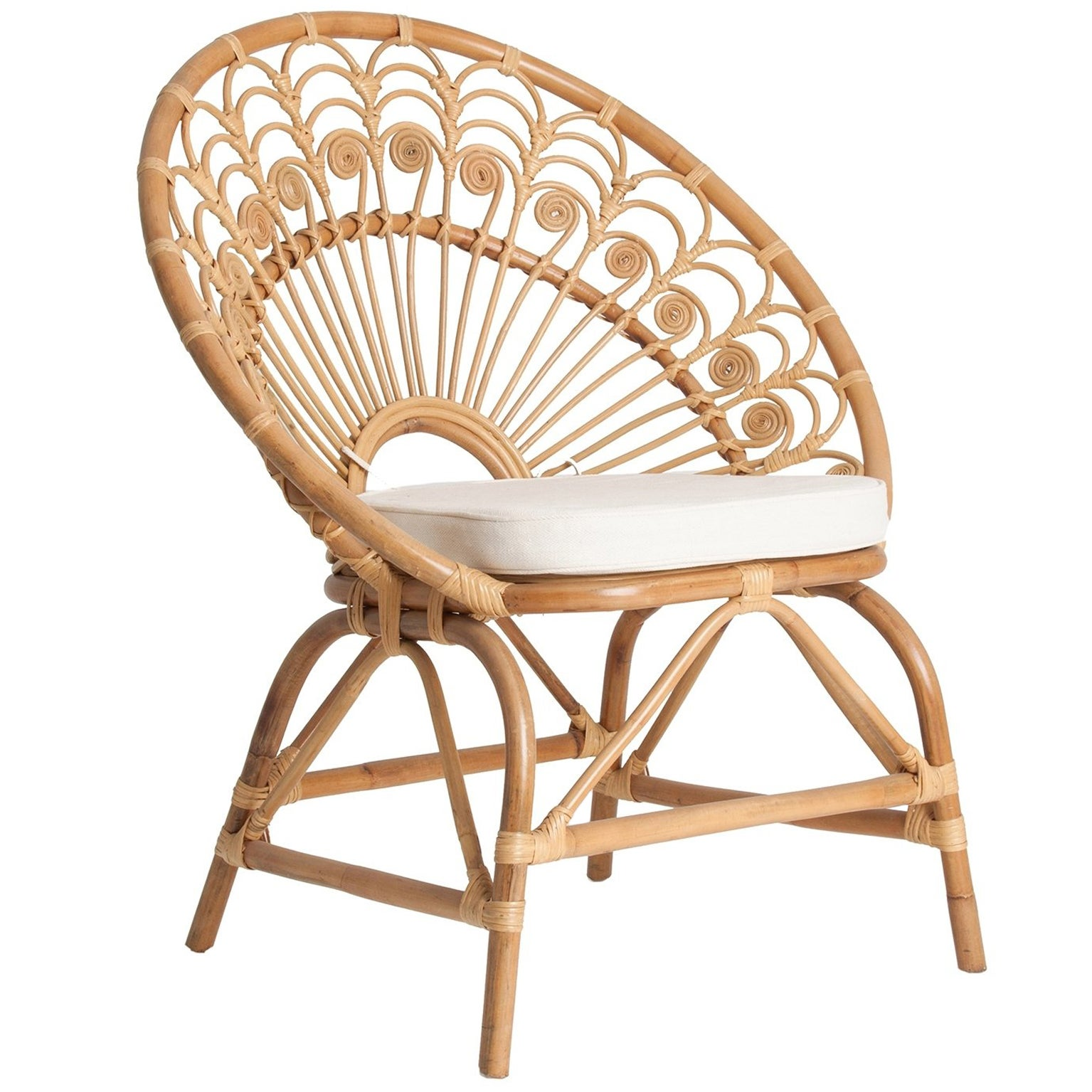 Rattan and Wicker Peacock Armchair