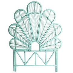 Azure Lacquer Rattan and Wicker Headboard