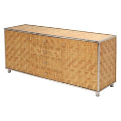 Bamboo Credenza with Faux Bamboo Chrome Frame Gabriella Crespi Style