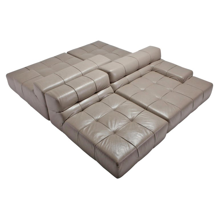 Tufty Time B&B Italia Taupe Leather Sectional Sofa by Patricia Urquiola For Sale
