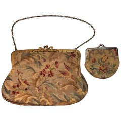 Handmade Wool Needlepoint 1960s Ladies Purse Handbag Set with a Small Wallet