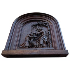 Antique Hand Carved Church Sculpture Depicting the Return of The Prodigal Son