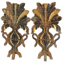 Incredible Chippy Pair of Carved Painted Gilded Fireplace Screens Sculptures