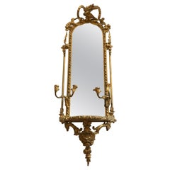 Ornate Elongated Shabby Chic French Mirror with Candleabra