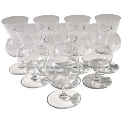 French Mid-Century Modern Baccarat Signed Crystal Glass Thistle Brandies, Set 8