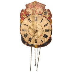 Super Old Folksy Painted Wooden Clock