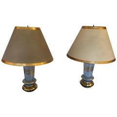 Lovely Pair of Ice Blue and Gold Leaf Table Lamps