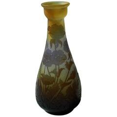 French Art Nouveau Emile Galle Cameo Glass Vase Signed circa 1900, Amenomes