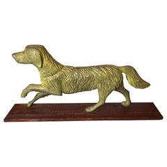 Rustic Vintage Sculpture of a Prancing Retriever Dog