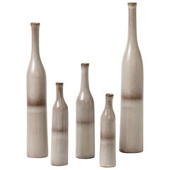 Set of 5 Ceramic Bottles White and Grey Colors by Ruelland Midcentury Design