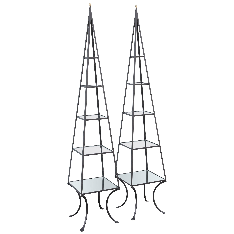 Vintage Pair of Iron Obelisks