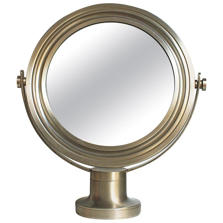 1960s Pivoting Vanity-Table Mirror by Sergio Mazza, Nickel-Plated Frame, Italy For Sale