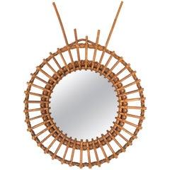 Italian Riviera Franco Albini Rattan and Bamboo Round Mirror, Italy, 1950s