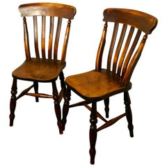 Pair of Victorian Beech and Elm Splat Back Chairs