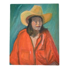 Portrait of Cowboy or Cowgirl Woman in Red Top Original Oil Painting Unframed