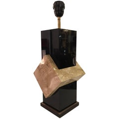 1970s Black Lucite and Travertin Marble Lamp