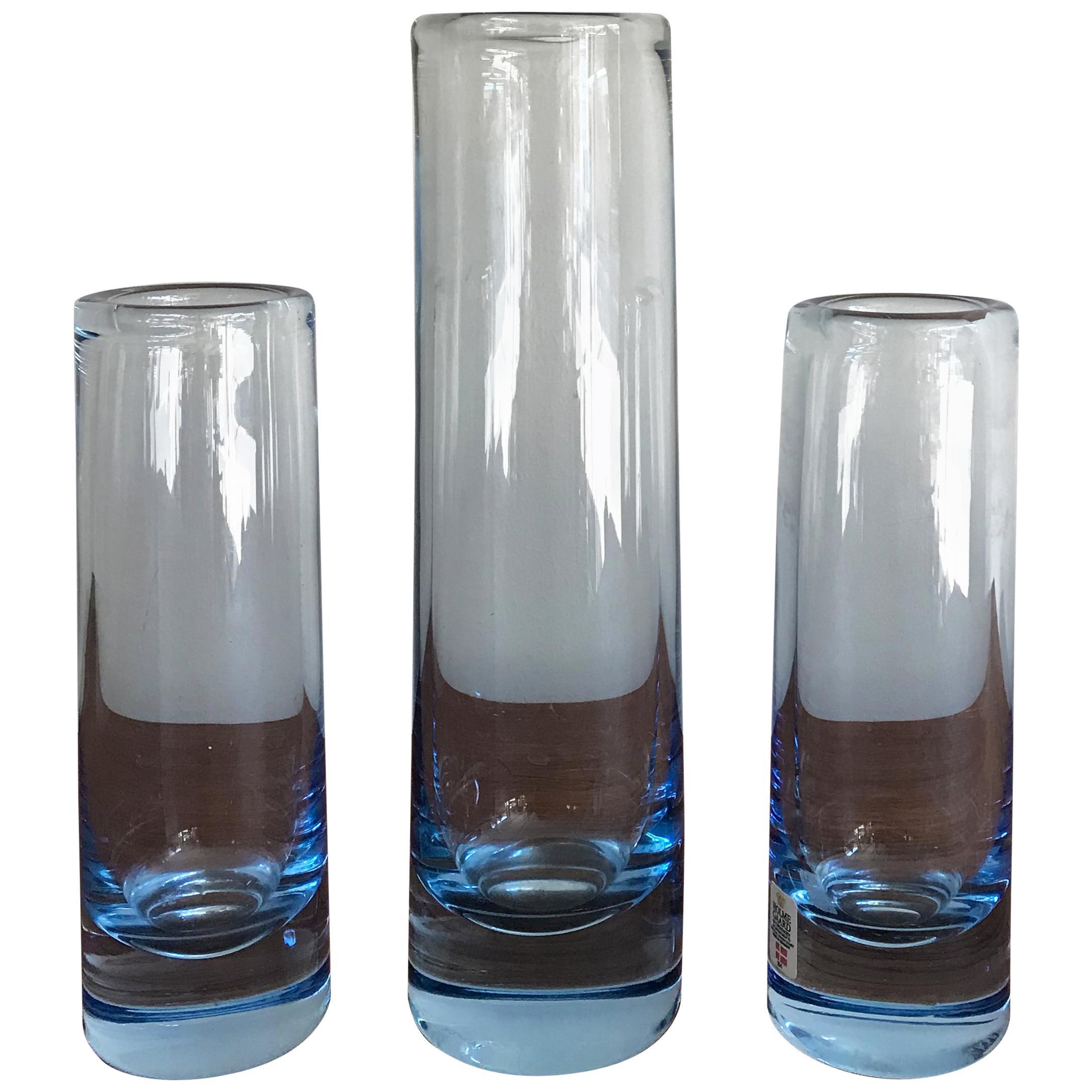 Per Lutken Scandinavian Mid-Century Light Blue Glass Vases, Holmegar, 1960s