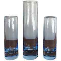 Per Lutken Scandinavian Mid-Century Light Blue Glass Vases, Holmegar, 1960s