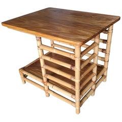 "Restored Midcentury Rattan Floating ""Jacob's Ladder"" Side Table"