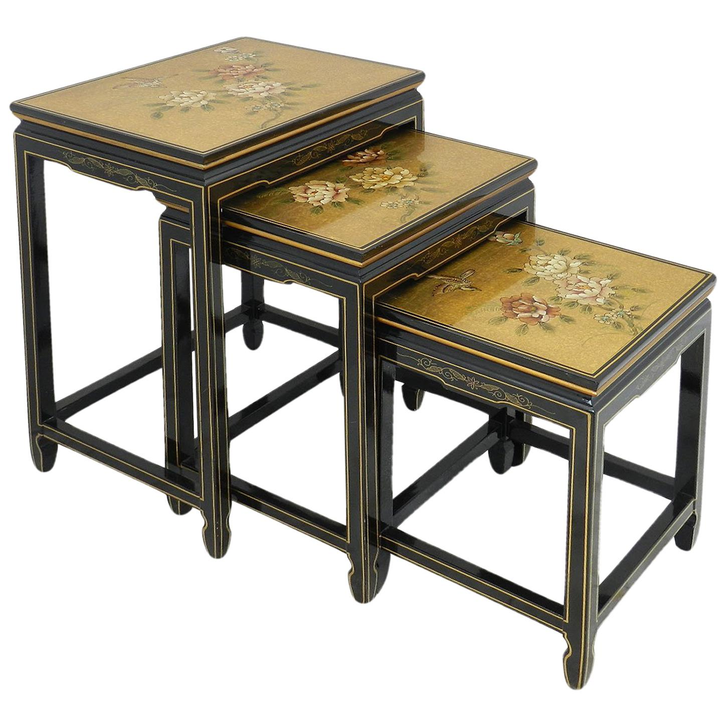 Chinoiserie Nesting Tables Black Lacquer Decorative Gold Birds Flowers