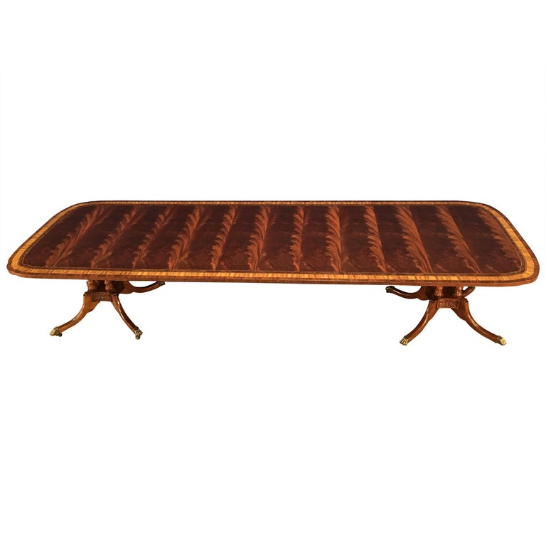 Custom Traditional Scallop Cornered Mahogany Dining Table by Leighton Hall For Sale